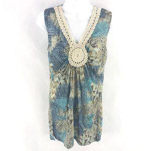 Kim & Cami Sleeveless Crochet Blue Brown Top M